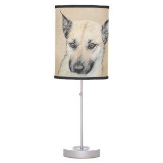 Chinook (Pointed Ears) Painting - Original Dog Art Table Lamp