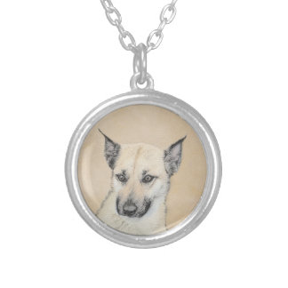 Chinook Puppy (Pointed Ears) Silver Plated Necklace