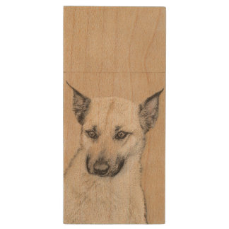 Chinook Puppy (Pointed Ears) Wood USB Flash Drive