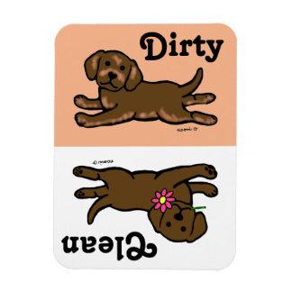 Chiot de Labrador de chocolat propre/sale Magnets Rectangulaire