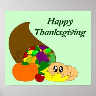 Chiot mignon de thanksgiving avec la corne posters