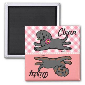 Chiot noir de Labrador propre/sale Aimants