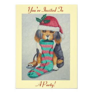 chiot noir et brun mignon avec le bas de Noël Carton D'invitation 13,97 Cm X 19,05 Cm