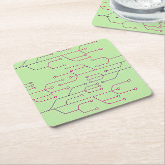 Chip circuit cyber tech art square paper coaster