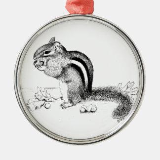 Chipmunk and Acorns Metal Ornament