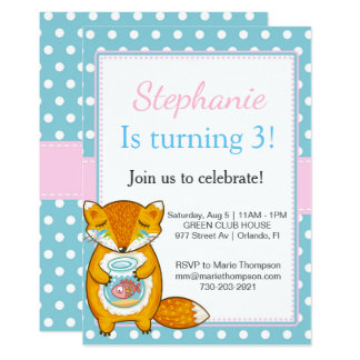 Chipmunk Birthday invitation kid child I go girl