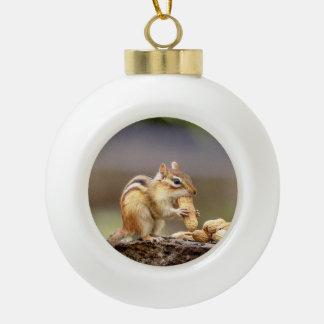 Chipmunk eating a peanut ceramic ball christmas ornament