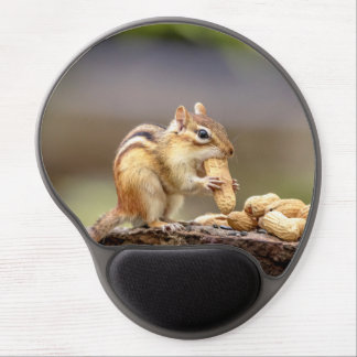 Chipmunk eating a peanut gel mouse pad