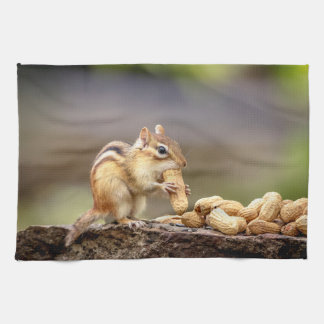 Chipmunk eating a peanut kitchen towel