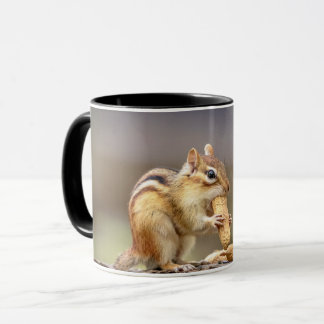 Chipmunk eating a peanut mug