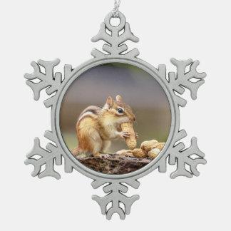 Chipmunk eating a peanut snowflake pewter christmas ornament