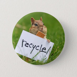 chipmunk for recycling 2 inch round button