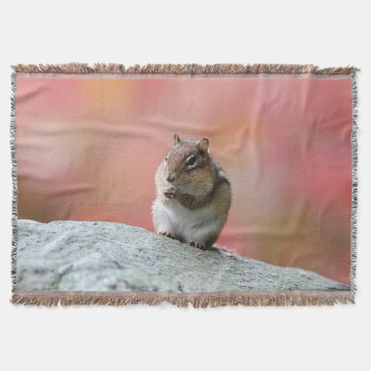 Chipmunk in autumn throw blanket