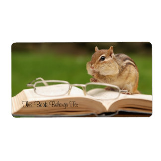 Chipmunk reading bookplate