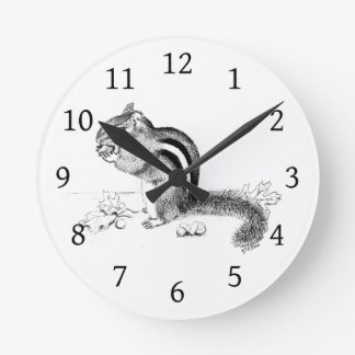 Chipmunk Round Clock