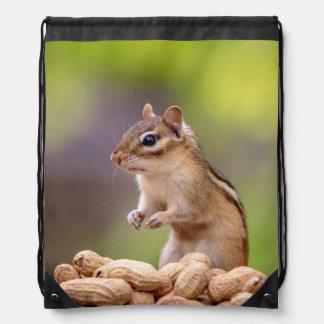 Chipmunk with peanuts drawstring bag