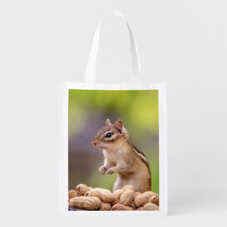 Chipmunk with peanuts reusable grocery bag
