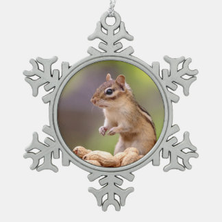 Chipmunk with peanuts snowflake pewter christmas ornament
