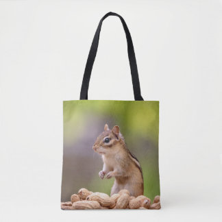 Chipmunk with peanuts tote bag
