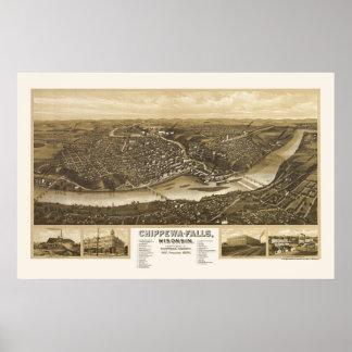 Chippewa Falls, WI Panoramic Map - 1907 Poster
