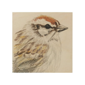 Chipping Sparrow Wall Art Wooden Panel