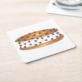 Chipwich Chocolate Chip Cookie Ice Cream Sandwich Square Paper Coaster