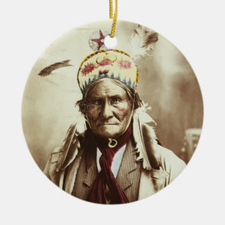 Chiricahua Apache Indian Leader Geronimo Portrait Ceramic Ornament