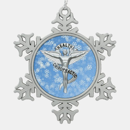 Chiropractic Emblem Pewter Snowflake Ornament