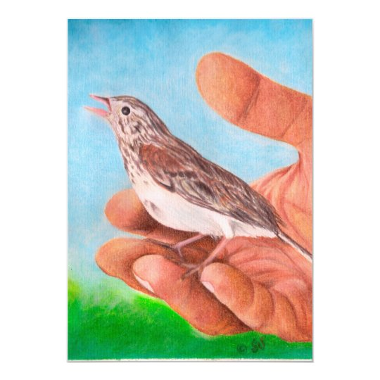 Chirping Sparrow Bird Card