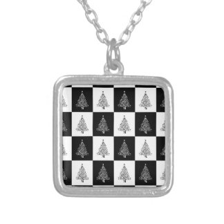 Chirstmas Tree Chess Silver Plated Necklace