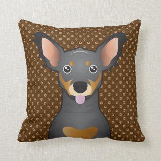 Chiweenie Dog Cartoon Paws Throw Pillow