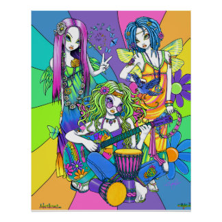 """Chloe,Melody,Harmony"" Flower Fairy Band Poster"