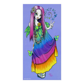"""Chloe"" Rainbow Peace Hippie Fairy Poster"