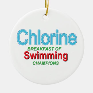 Chlorine Breakfast of Swimmers Round Ceramic Ornament
