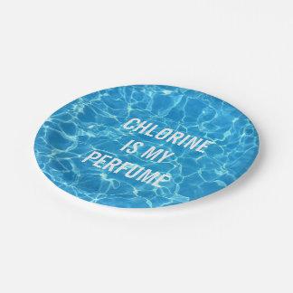 Chlorine Is My Perfume Swimming Pool Typographic Paper Plate