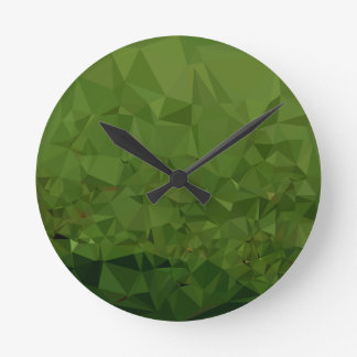 Chlorophyll Green Abstract Low Polygon Background Round Clock