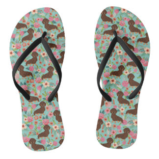 Choc and Tan Doxie Flip Flops - floral mint