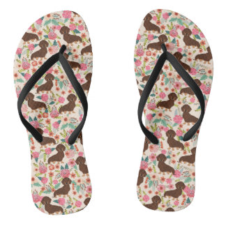 Choc and Tan Doxie Floral Shoes Flip Flops