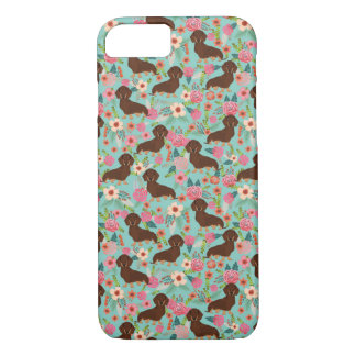Choc and Tan Doxie Phone case - dog florals mint