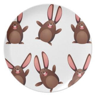 Choco egg bunny dinner plates
