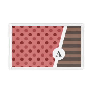 Choco Strawberry Polka Dot and Stripe Pattern Acrylic Tray