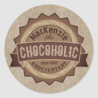 Chocoholic Chocolate Lover Grunge Badge Brown Logo Classic Round Sticker