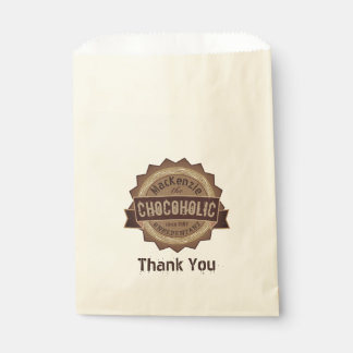 Chocoholic Chocolate Lover Grunge Badge Brown Logo Favour Bag