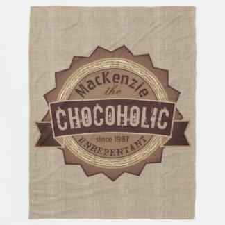 Chocoholic Chocolate Lover Grunge Badge Brown Logo Fleece Blanket