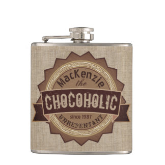 Chocoholic Chocolate Lover Grunge Badge Brown Logo Hip Flask