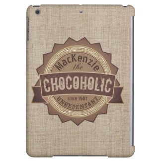 Chocoholic Chocolate Lover Grunge Badge Brown Logo iPad Air Case