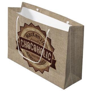 Chocoholic Chocolate Lover Grunge Badge Brown Logo Large Gift Bag