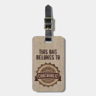 Chocoholic Chocolate Lover Grunge Badge Brown Logo Luggage Tag