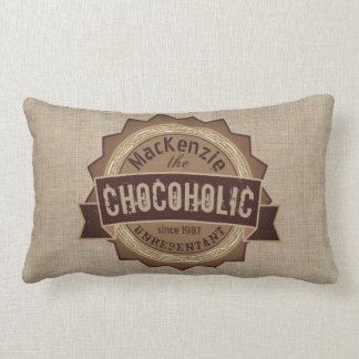 Chocoholic Chocolate Lover Grunge Badge Brown Logo Lumbar Pillow