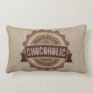Chocoholic Chocolate Lover Grunge Badge Brown Logo Lumbar Pillow